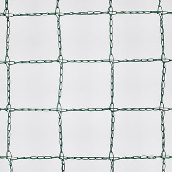 A piece of green square knitted bird netting in the white background